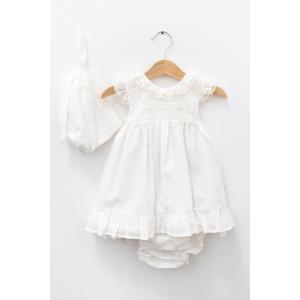 Rochiță albă cu chiloțel și căciuliță