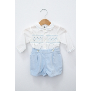 Costumaș cu pantaloni de catifea bleu și cămășuță albă brodată manual
