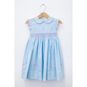 Rochie bleu cu guler și piept brodat manual