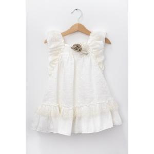 Rochiță albă cu fundă și trandafiri