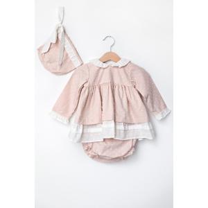 Rochiță de culoare roz prăfuit cu chiloțel și bonetă