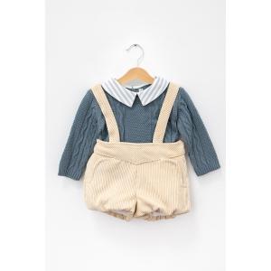Set pulover din tricot cu guleraș cu dungi și pantaloni reiați