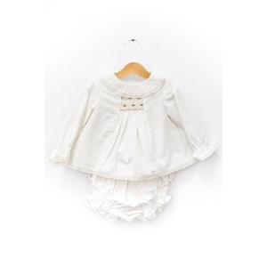 Rochiță albă cu elastic tip fagure și chiloțel