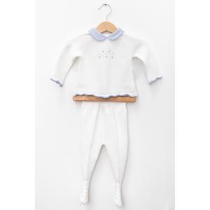 Set alb din tricot cu guler cu linii albastre