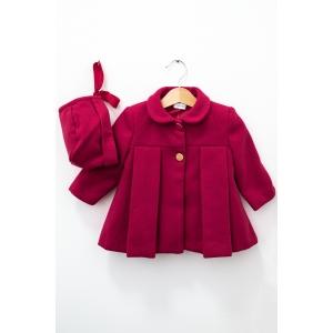 Jachetă roșie cu bonetă