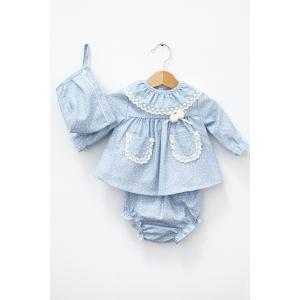 Rochie bleu cu chiloțel și bonetă