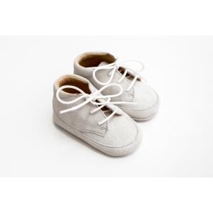 Papucei de piele întoarsă gri, cu șiret