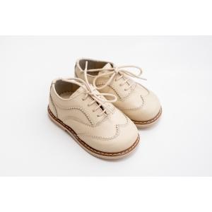 Pantofi Oxford crem din piele