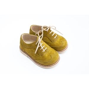 Pantofi Oxford muștar din piele întoarsă
