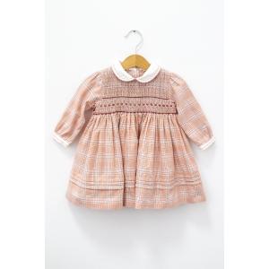 Rochie în carouri cu detaliu pe piept din elastic tip fagure